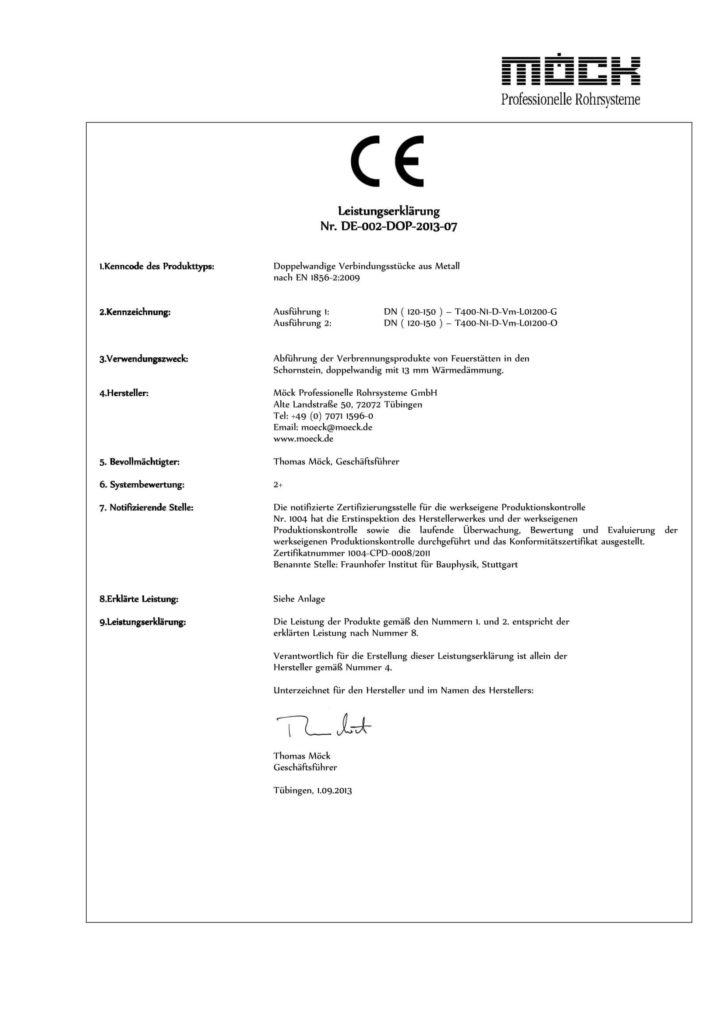 Leistungserklärung Doppelwandige Verbindungsstücke (Deutsch, 2013)