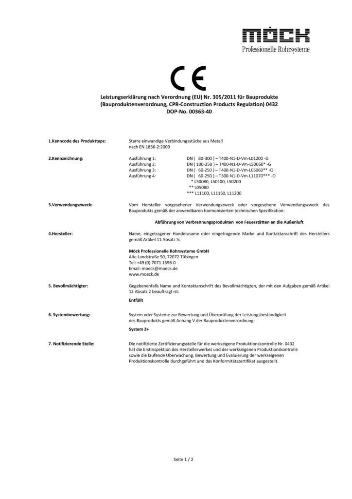 Leistungserklärung starre einwandige Verbindungsstücke (Deutsch, 2021)